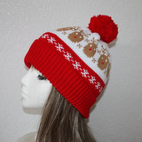 Rudolf the Red Nosed Reindeer Christmas beanie hat in Red and White