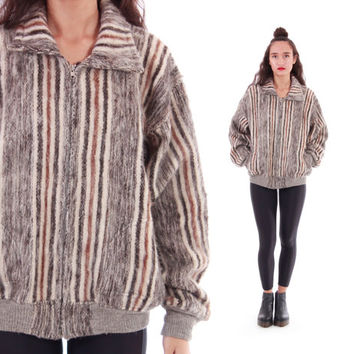Striped Alpaca Zip Up Jacket Thick and Warm 80s 90s Vintage Wool Winter Outerwear Boho Hipster Unisex Clothing Size Small-Medium