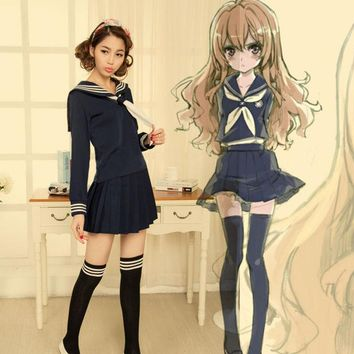 LMFUS4 Anime TIGER DRAGON Toradora Aisaka Taiga salior Cosplay Costume sexy halloween costumes for women School Suit Uniform