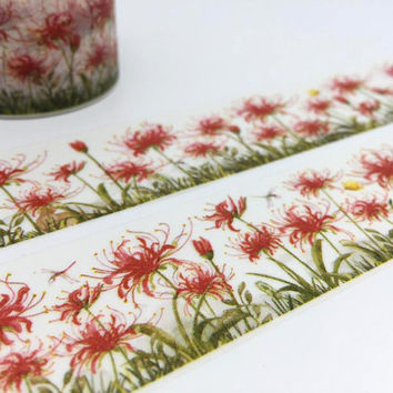 Lycoris radiata tape 10M Red spider lily magic lily Wide washi tape red flower landscape Summer landscape blossom flower sticker tape gift