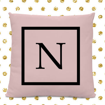 Initial Pillow - Letter Pillow - Pillow with Letter N - Monogrammed Pillow - Custom Throw Pillow - Pink Letter Pillow
