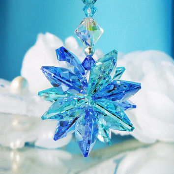 Crystal Rear View Mirror Car Suncatcher Swarovski Sapphire and Turquoise Blue Crystal Car Charm Accessory