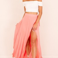 Break A Leg Maxi Skirt in pink Produced By SHOWPO