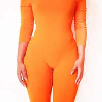 The Summer Honey Off Shoulder Jumpsuit in Tangerine – Babes And Felines | Specializing in Fashionable Staple Pieces for Every Shape and Size