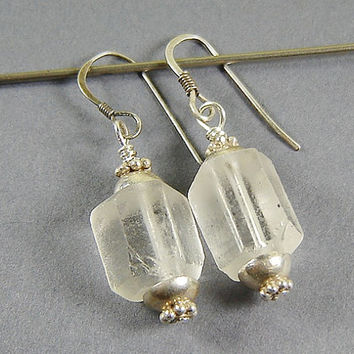Natural Crystal Quartz Drop Earrings with Bali Sterling Bead Caps, Raw Octagon Crystal, Rough Crystal Dangle, Crystal Quartz Jewelry
