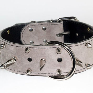 "Light Grey Suede Leather Dog Collar - 2"" Grey Suede Leather Spiked Collar - Spiked Grey Suede Dog Collar - Grey Suede Dog Collar"