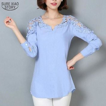 PEAPU3S 2017 New Camisas Femininas Lace Sleeve Blouse Shirt Women V-Neck Floral Lace Sexy Casual Linen Shirts Plus Size Lady Shirt 185B