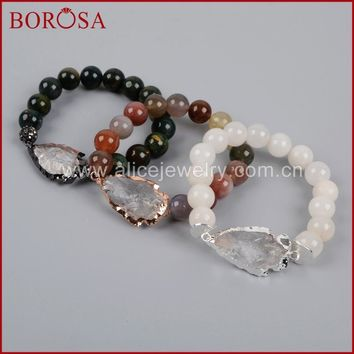 BOROSA Rose Gold Color Natural Quartz Arrowhead Bracelet With 10mm India Crystal Druzy/White Natural Stone Beads G1208
