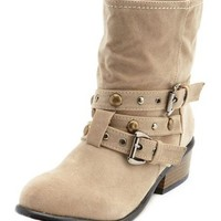 Studded Buckle Western Bootie: Charlotte Russe