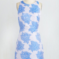 Mid-length Sleeveless Sheath Styled Blue Yonder Dress