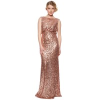 Designer rose gold natural sequin maxi dress