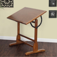 Vintage Drafting Table Adjustable Office Furniture Antique Rustic Oak Finish New