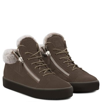 Giuseppe Zanotti Gz Kriss Brown Calf Suede Mid-top Sneaker With Ram Inserts - Best Deal Online