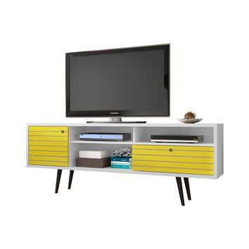 "70.86"" Mid Century - Modern TV Stand w/ 4 Shelving Spaces & 1 Drawer -White and Yellow"