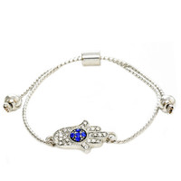 Silver and Blue Pave Evil Eye Hamsa Pull Tie Bracelet