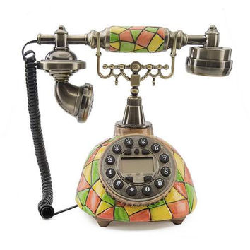 LNC Tiffany Telephone with Push Button Dial for Living Room, Dining Room, Bedroom