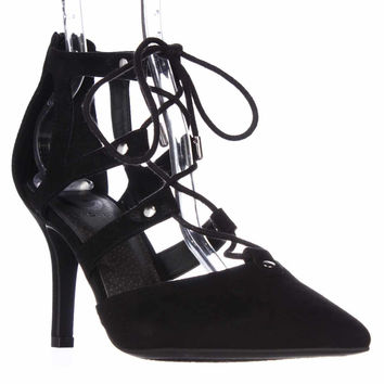 G by GUESS Krona Lace-up Dress Heels, Black, 9.5 US