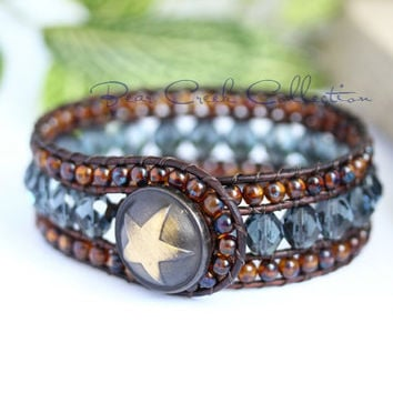 Western Boho Beaded Leather Cuff, 3 Row, Denim Blue, Brown, Leather Jewelry, Beaded Bracelet, Leather Wrap Bracelet, Womens Bracelet