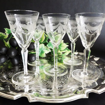 Antique Crystal Sherry Glasses, Fine Edwardian Port Glass, Liqueur Glasses, Etched Stemware, Vintage Pall Mall Stemware, Barware