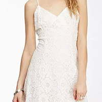 White V-neck Spaghetti Strap Back Cross Lace Mini Dress