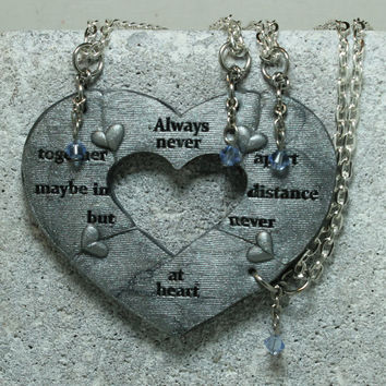 4 Piece friendship necklaces Break apart puzzle jewelry Always Together Quote Made To Order