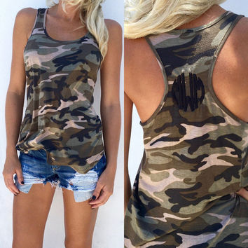 Camouflage Print Racer Back Tank Shirts