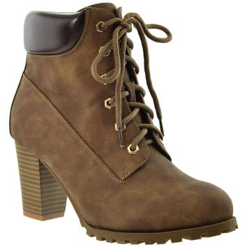 Womens Ankle Boots Lace Up Stacked Heel Ankle Padded Booties Brown