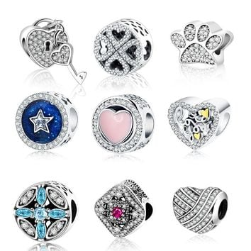 2017 Valentine's Sparkling Forget Me Not Flower 925 Sterling Silver CZ Pave Charm Stamp S925 Pandora Charm Bracelets Jewelry