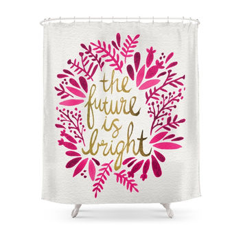 Society6 The Future Is Bright – Pink & Gold Shower Curtains