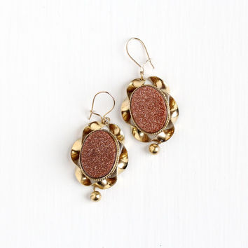 Antique Victorian Goldstone Earrings - Late 1800s Vintage Aventurine Glass Pierced Dangle Statement Yellow Gold Filled Jewelry