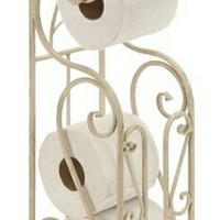 Shabby White Metal Toilet Paper Holder With Magazine Rack