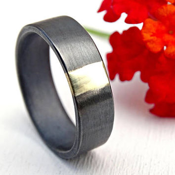 mens wedding band gold and silver, unique mens ring bimetal promise ring, viking wedding ring solid gold, cool wedding ring black silver