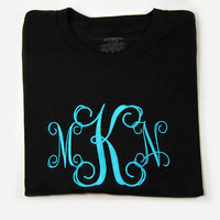 Emboridered Initial T-Shirt Large Monogram Womens sizes SX S M L XL