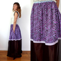 Hypercolor Neon Purple Zebra Print Sheer Black Maxi Skirt With Pockets