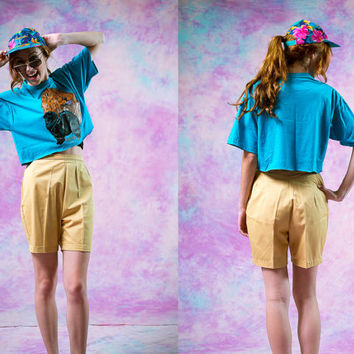 vtg 80s 90s retro yellow shorts, high waist bermuda short, summer spring, 1990s vintage urban outfitters tumblr fashion vaporwave aesthetic