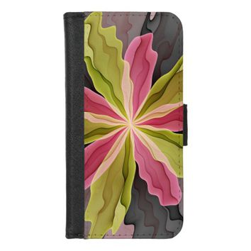 Joy, Pink Green Anthracite Fantasy Flower Fractal iPhone 8/7 Wallet Case