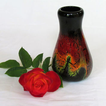 Red and Black Handblown Glass Vase