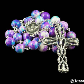 Anglican Rosary Beads Purple Blue White Rain Flower Stone Prayer Beads Silver Christian Episcopal Rosary