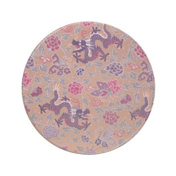 Purple Dragons Pink and Purple Flowers Pattern Sandstone Coaster