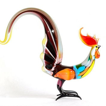 Art Glass Rooster Figurine Glass Figurine Glass Bird Figurine Glass Figure Glass Animal Figurines Glass Sculpture Glass Figures