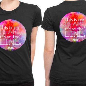 DCCKG72 Imagine Dragons This Is My Heart Its On The Line 2 Sided Womens T Shirt