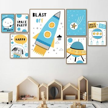 Cartoon Space Rocket Ship Dog Star Earth Wall Art Canvas Painting Nordic Posters And Prints Wall Pictures For Kids Room Decor