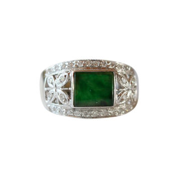 Fine Size 6.5 Rectangular Imperial Jade Ring with 0.32ct Diamonds 18K Gold Band