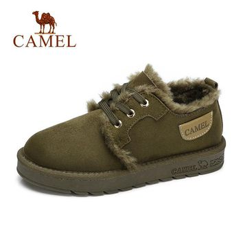CAMEL Women Boots Suede Winter Ankle Snow Boots Women Platform Winter Warm Shoes Short Plush Mujer Lace-Up Cross Tied Soft Shoes