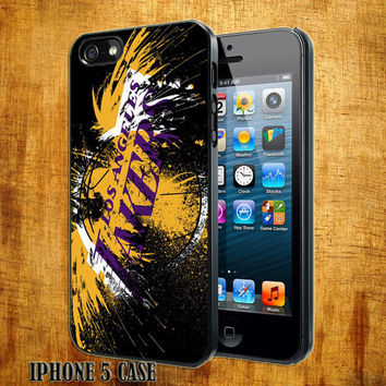 LA - Lakers NBA Logo Design On Hard Plastic Cover Case, IPhone 4,4S or IPhone 5 Case, Samsung Galaxy S2,S3 or S4 Case