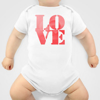 Danish Heart Love Onesuit by Gréta Thórsdóttir  #love #heart #girly #baby #red #scarlet #ombre #pattern #toddler
