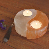 Selenite Yin-Yang Tealight