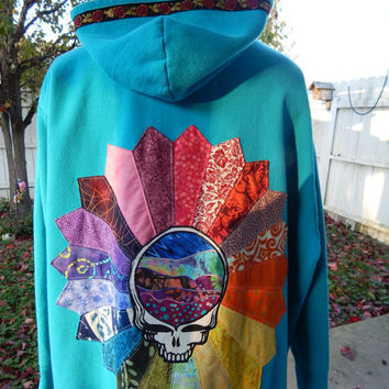 Upcycled Zip Up Turquoise Hoodie Grateful Dead Rainbow Patchwork Mandala OOAK Size 3X Ladies Patchwork  Hippie clothes, Hoody Terrapin