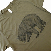 BEAR T-Shirt - Grizzly Bear California State Bear Mens UNISEX American Apparel Shirt - (Available in sizes S, M, L, XL