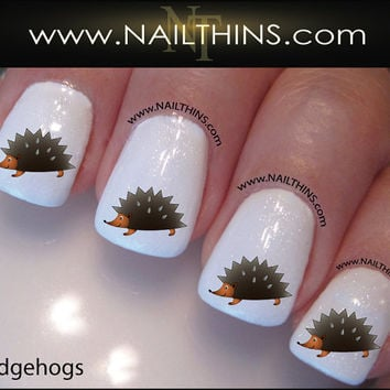Hedgehog Nail Decal Hedge Hog Nail Designs by NAILTHINS on Etsy